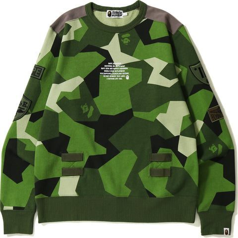 SPLINTER CAMO PATCHED WIDE CREWNECK MENS