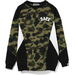 1ST CAMO COLOR BLOCK OVERSIZED CREWNECK LADIES