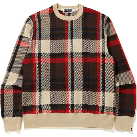 BAPE CHECK BAPE CREWNECK MENS