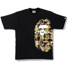 CHECK CAMO SIDE BIG APE HEAD TEE MENS