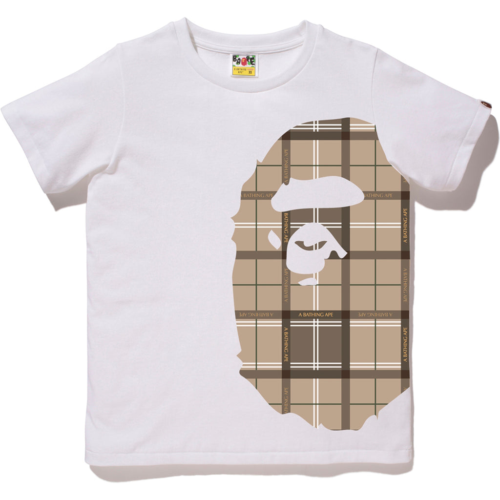 95c0bb34 BAPE LOGO CHECK SIDE BIG APE HEAD TEE LADIES | us.bape.com