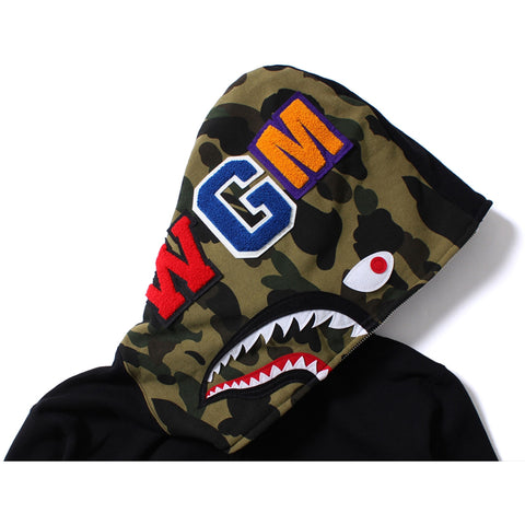 1ST CAMO LONG LENGTH SHARK FULL ZIP HOODIE