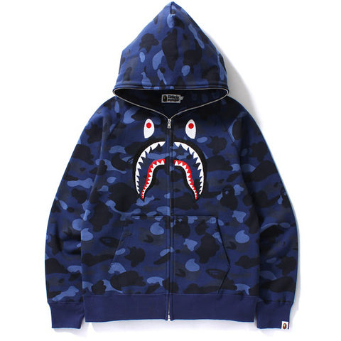 COLOR CAMO EMBROIDERY SHARK FULL ZIP HOODIE
