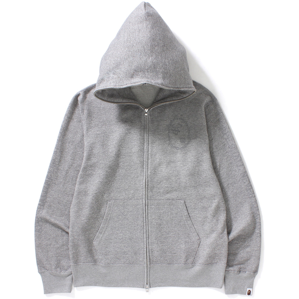 HEATHER GRAY FULL ZIP HOODIE MENS