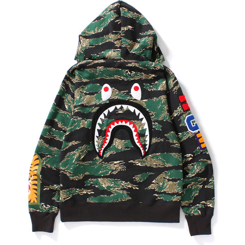 TIGER CAMO EMBROIDERY SHARK FULL ZIP HOODIE MENS