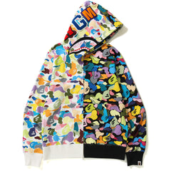 MULTI CAMO HALF SHARK FULL ZIP HOODIE MENS