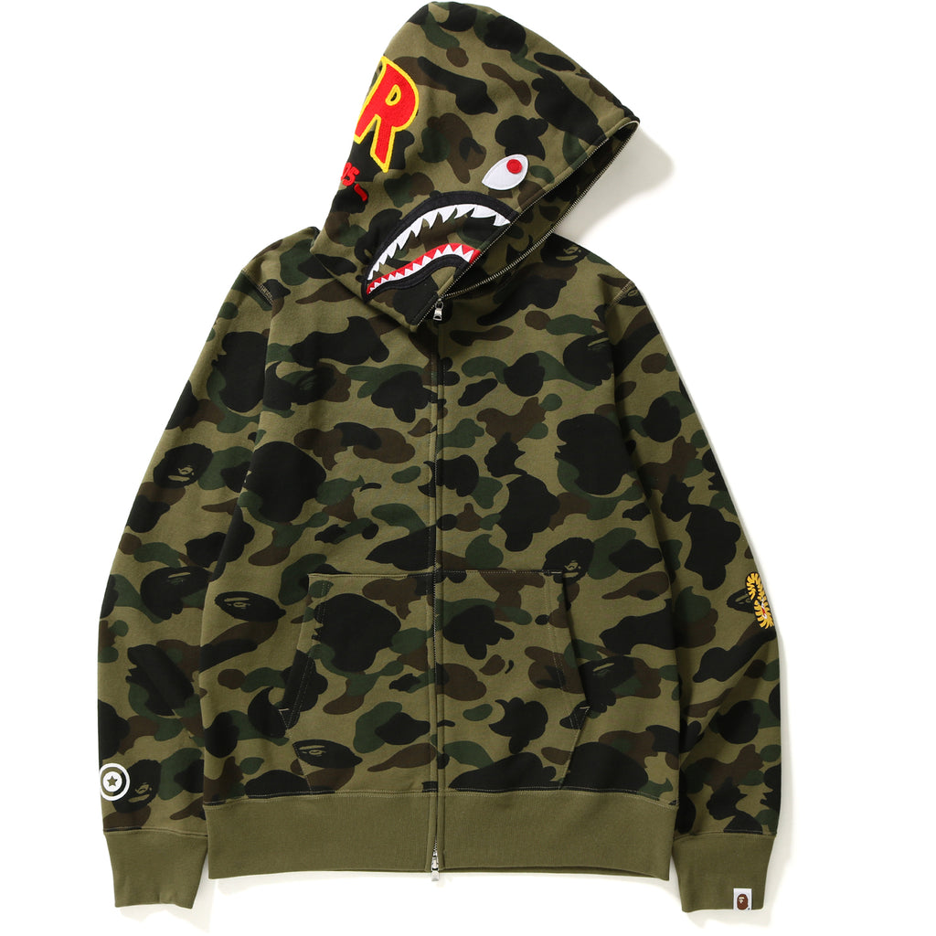 1ST CAMO PATCHED SHARK FULL ZIP HOODIE MENS