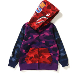 COLOR CAMO CRAZY SHARK ZIP HOODIE KIDS