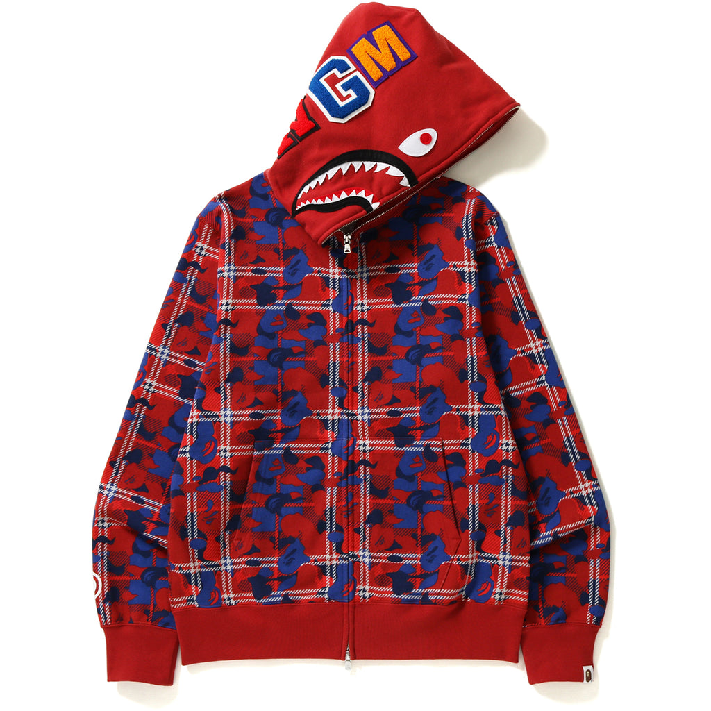 BAPE CHECK CAMO SHARK FULL ZIP HOODIE MENS