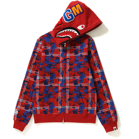BAPE CHECK CAMO SHARK FULL ZIP HOODIE LADIES