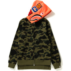 1ST CAMO NEON SHARK LONG ZIP HOODIE LADIES