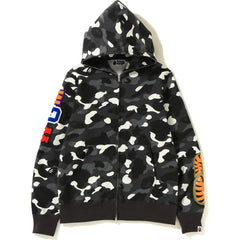 CITY CAMO EMBROIDERY SHARK FULL ZIP HOODIE MENS