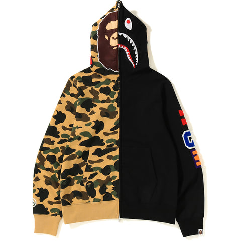 1ST CAMO 2ND APE SHARK HALF FULL ZIP HOODIE MENS