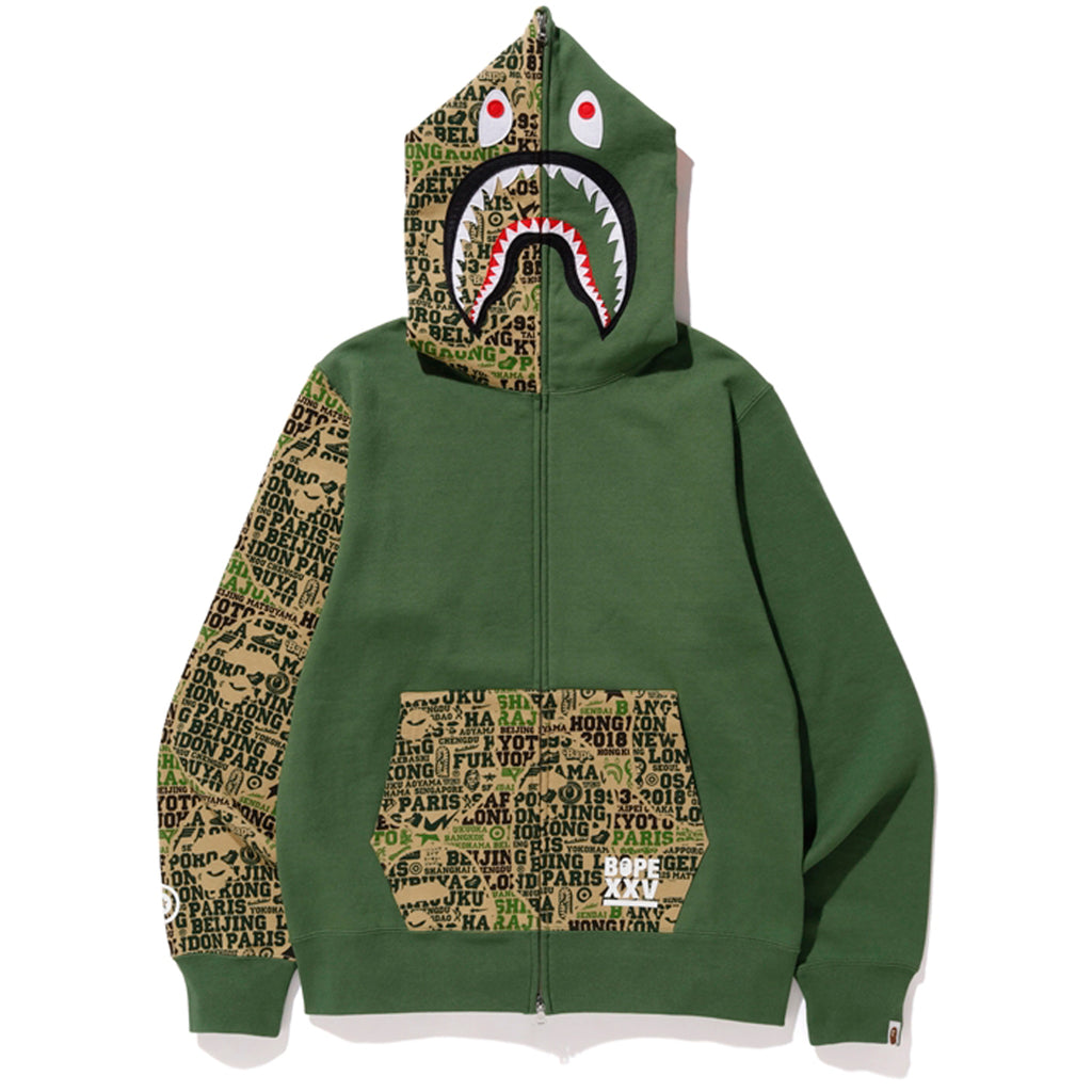 BAPE XXV CITIES CAMO SHARK FULL ZIP HOODIE MENS