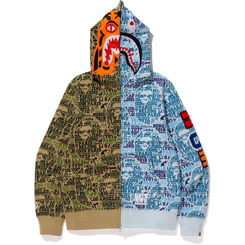 149df511 BAPE XXV CITIES CAMO TIGER SHARK HALF FULL ZIP HOODIE MENS | us.bape.com