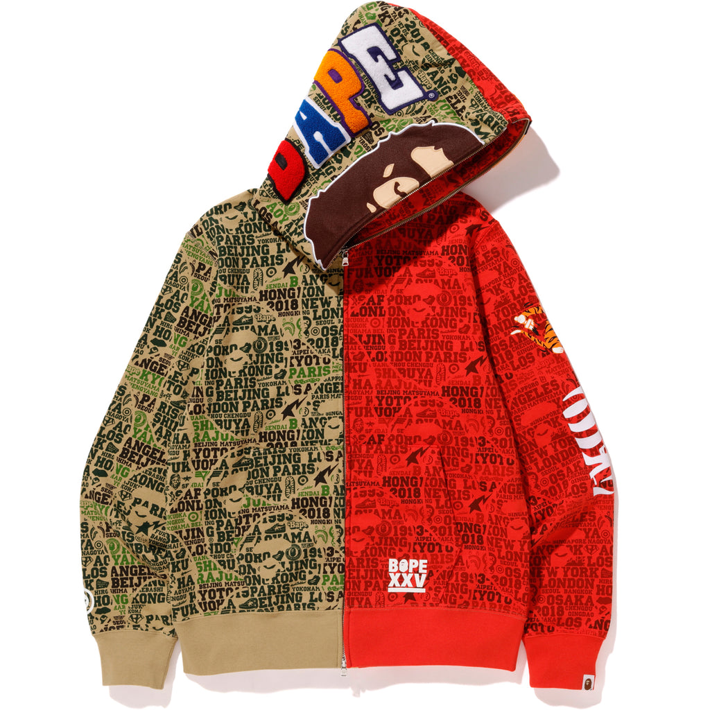BAPE XXV CITIES CAMO 2ND APE TIGER HALF FULL ZIP HOODIE MENS