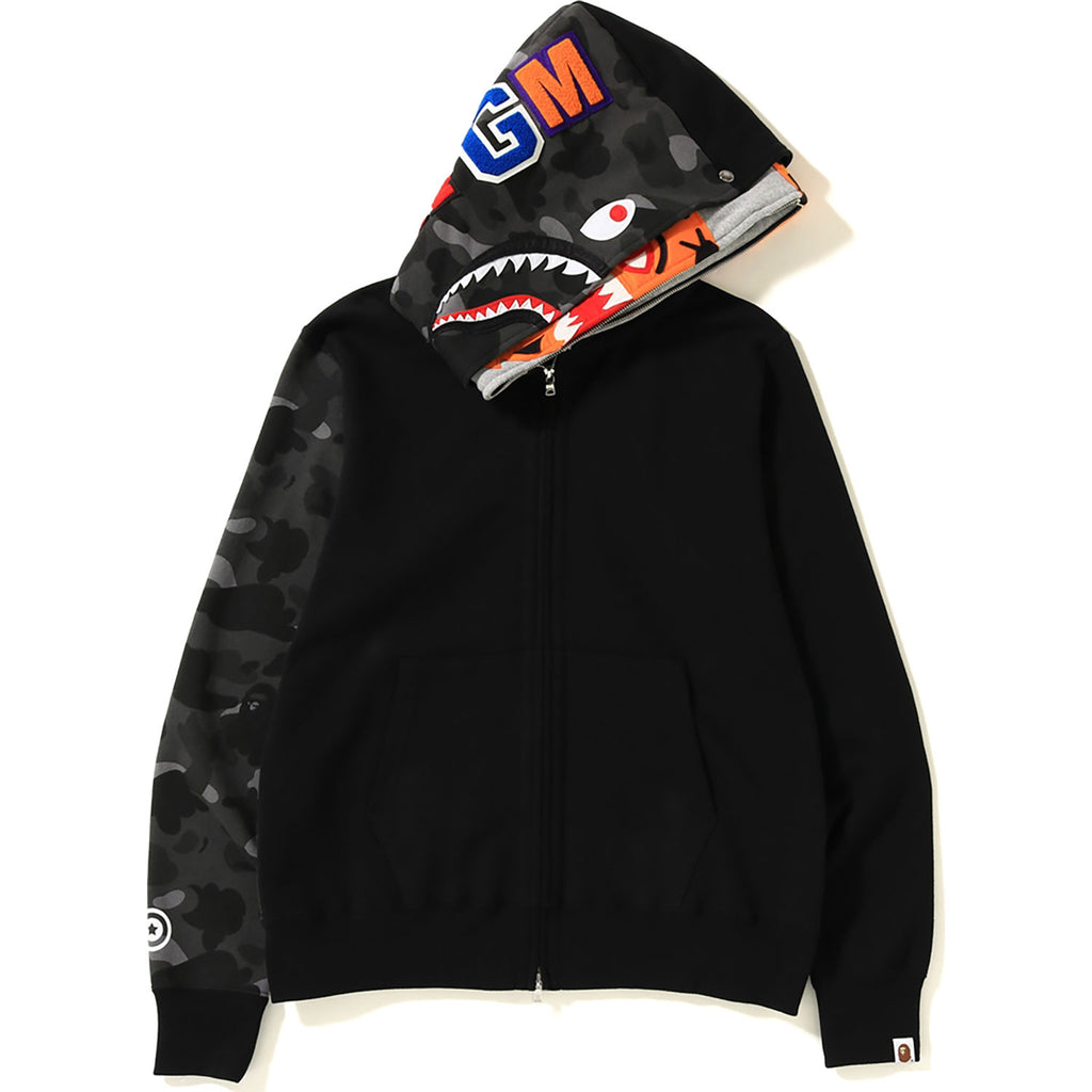 56d735867800 ... COLOR CAMO TIGER SHARK FULL ZIP DOUBLE HOODIE MENS ...