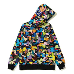 MULTI CAMO SHARK ZIP HOODIE JR KIDS