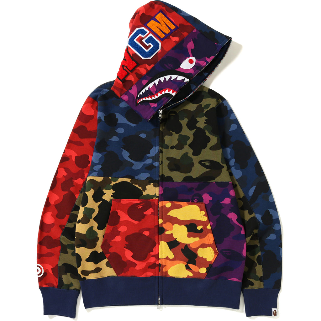 MIX CAMO CRAZY SHARK FULL ZIP HOODIE MENS