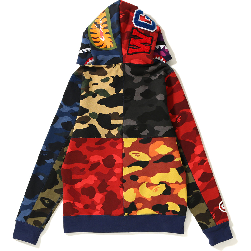 MIX CAMO CRAZY SHARK FULL ZIP HOODIE LADIES