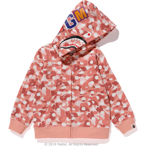 BAPE X BARBIE DOT CAMO SHARK ZIP HOODIE KIDS