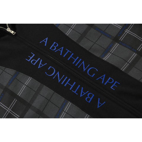 RELAXED BAPE LOGO CHECK FULL ZIP HOODIE MENS