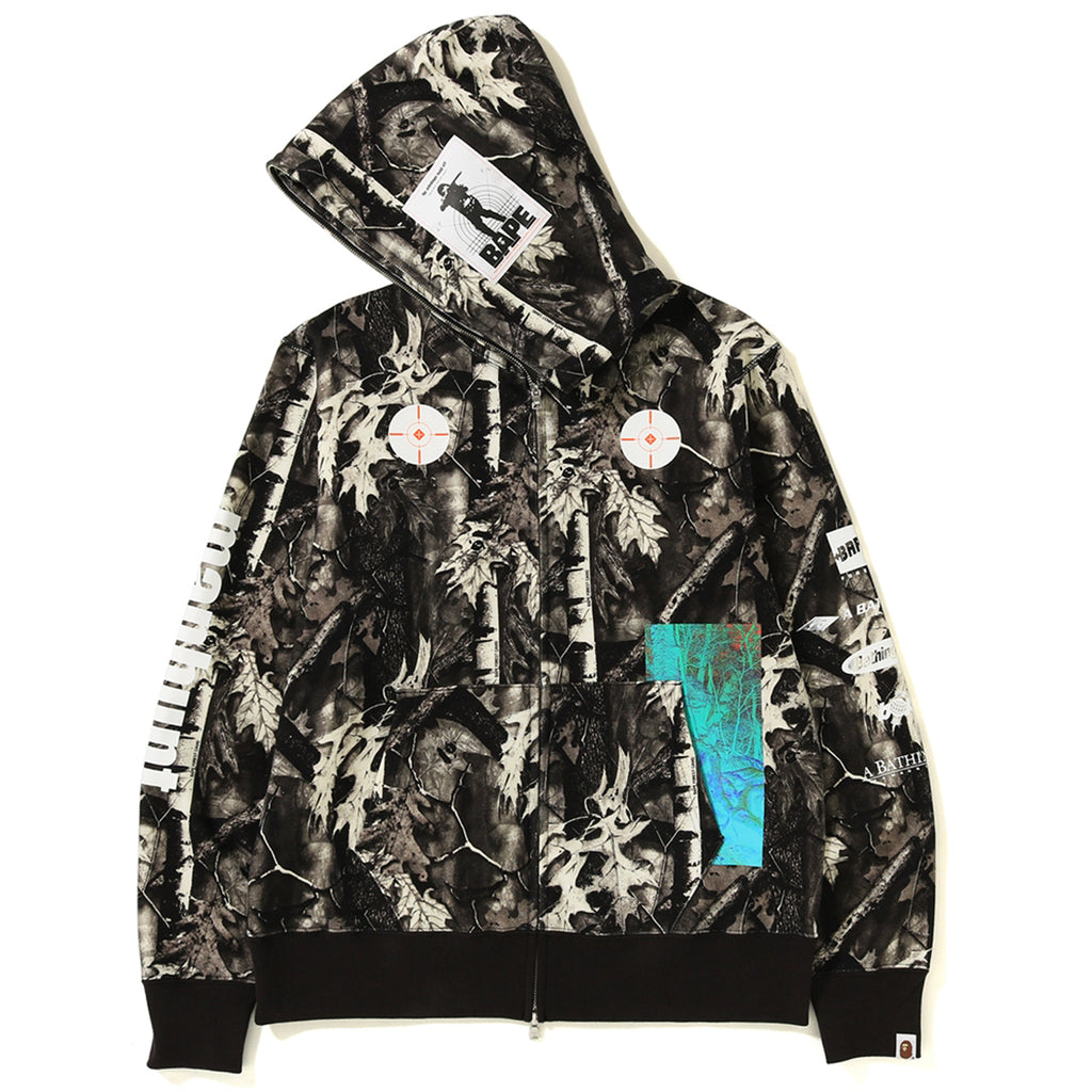 BAPE FOREST CAMO WIDE FULL ZIP HOODIE MENS