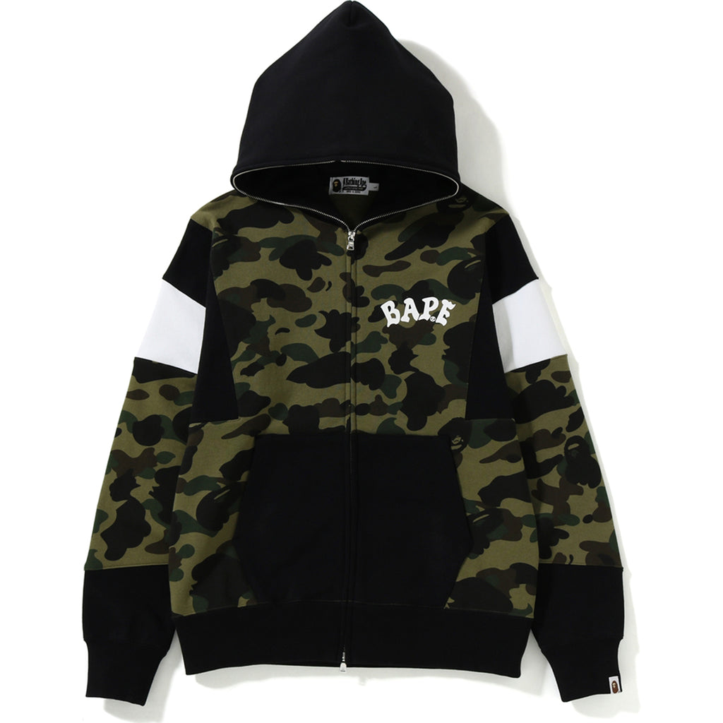 1ST CAMO COLOR BLOCK FULL ZIP HOODIE MENS