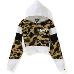 1ST CAMO COLOR BLOCK SHORT ZIP HOODIE LADIES