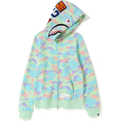 PASTEL MULTI CAMO SHARK FULL ZIP HOODIE LADIES