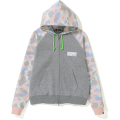 PASTEL MULTI CAMO WIDE ZIP HOODIE LADIES