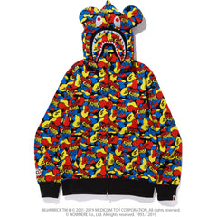 MEDICOM TOY CAMO BE@R SHARK FULL ZIP HOOD MENS