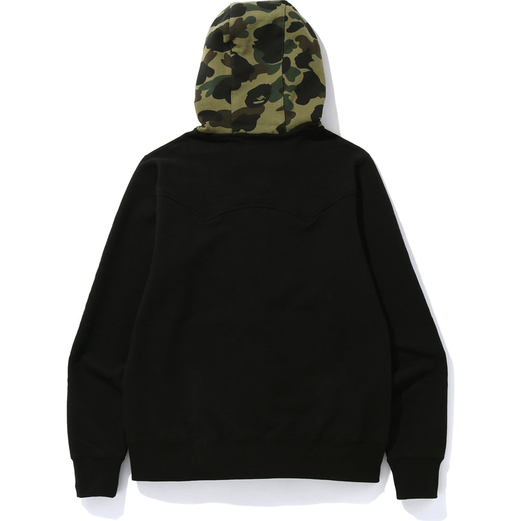 A BATHING APE EMBROIDERY WIDE ZIP HOODIE MENS