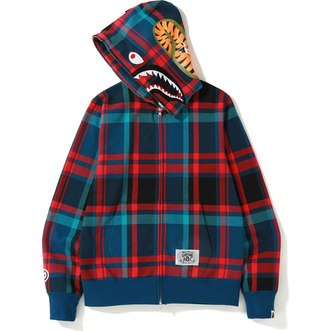 BAPE CHECK SHARK FULL ZIP HOODIE MENS