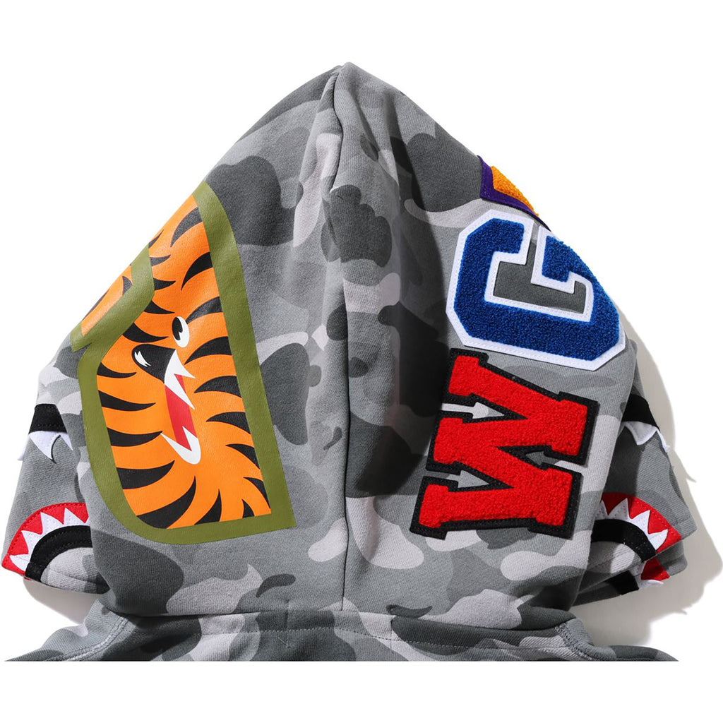 COLOR CAMO SHARK WIDE FULL ZIP DOUBLE HOODIE MENS