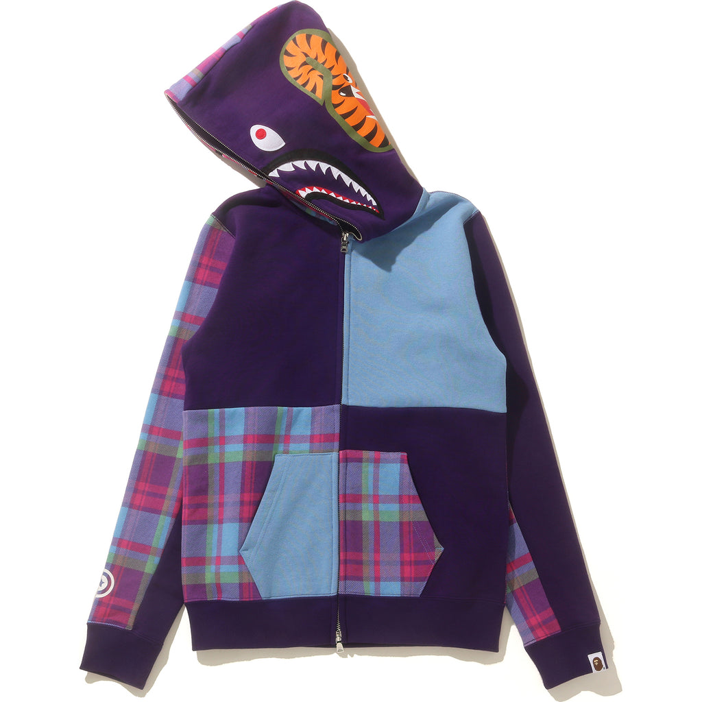 BAPE CHECK SHARK FULL ZIP HOODIE LADIES