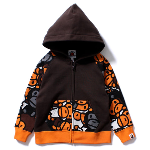ALL BABY MILO MIX FACE ZIP HOODIE /K