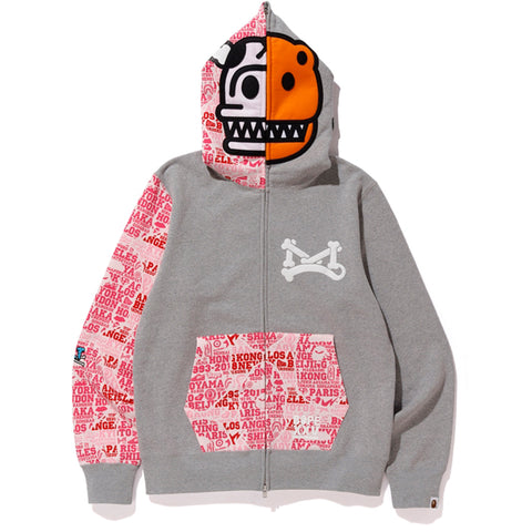 BAPE XXV CITIES CAMO MILO JURASSIC REX FULL ZIP HOODIE MENS