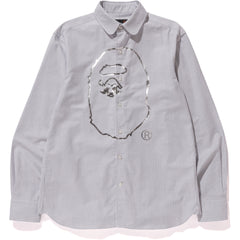APE HEAD PRINT CLUB COLLAR SHIRT MENS