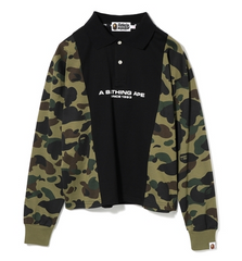 1ST CAMO PANEL L/S POLO LADIES