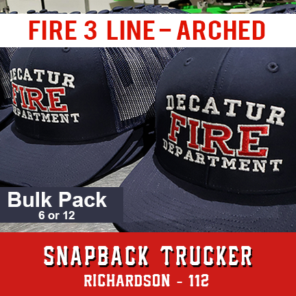 Fire 3 Line Custom Hat Arched - Bulk Pack - Snapback Trucker