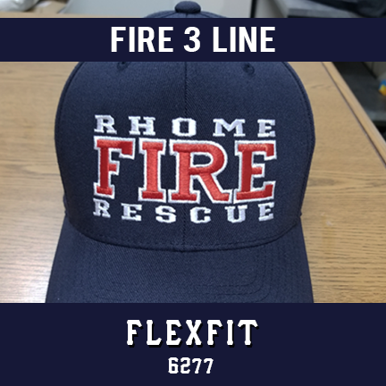 Fire 3 Line Custom Hat - Flexfit