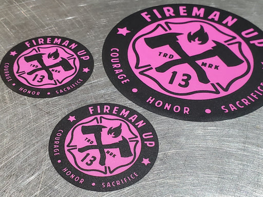 Fireman Up - Sticker (Black/HOT Pink)