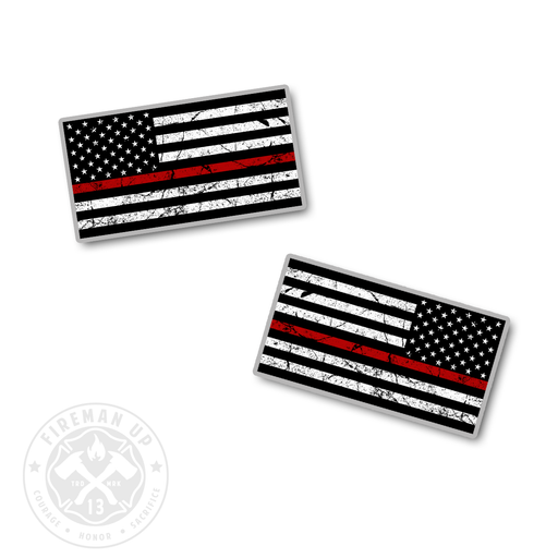 "Thin Red Line USA Flag Tattered Left and Right - 2"" Sticker Pack"