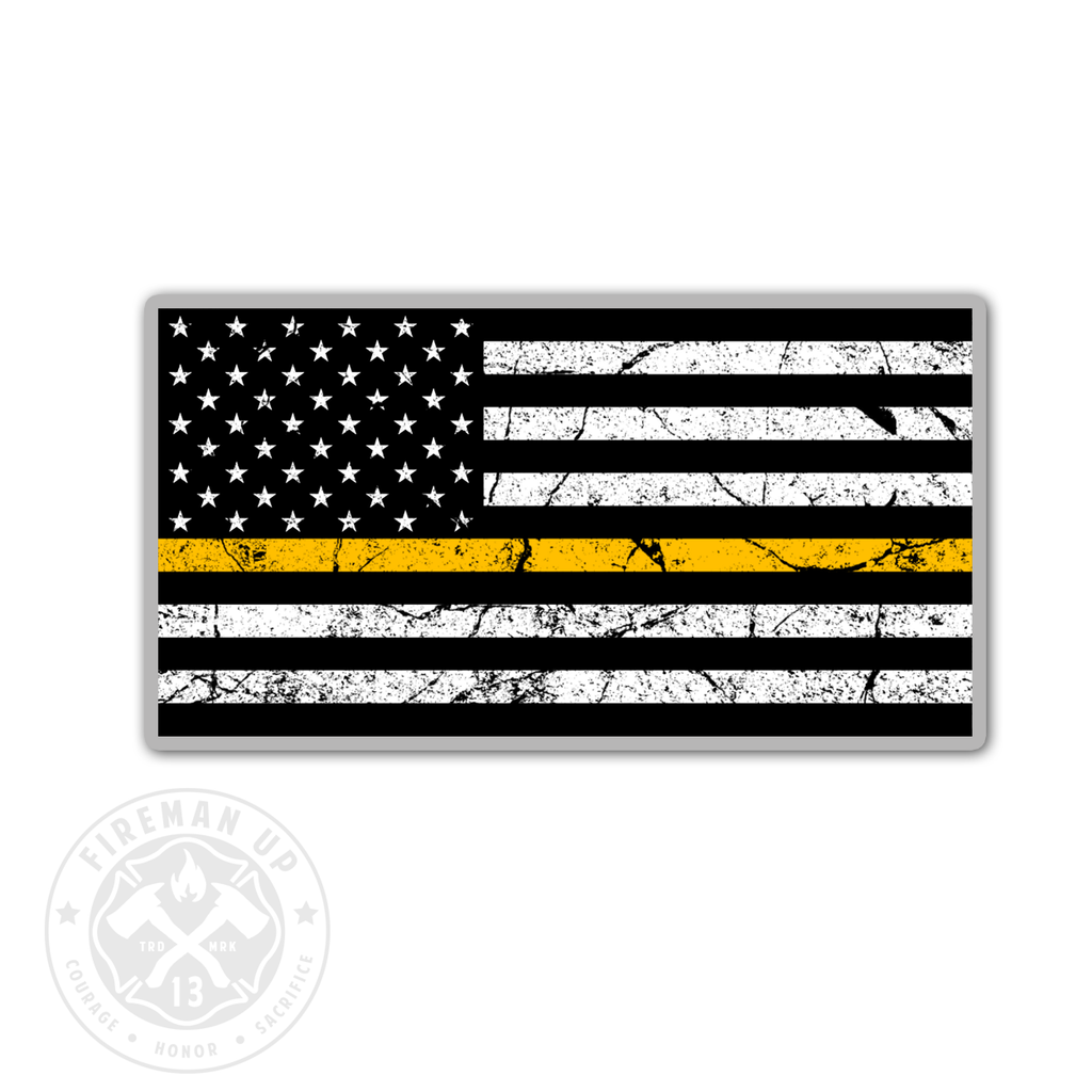 "Thin Gold Line USA Flag Tattered - 4"" Sticker"
