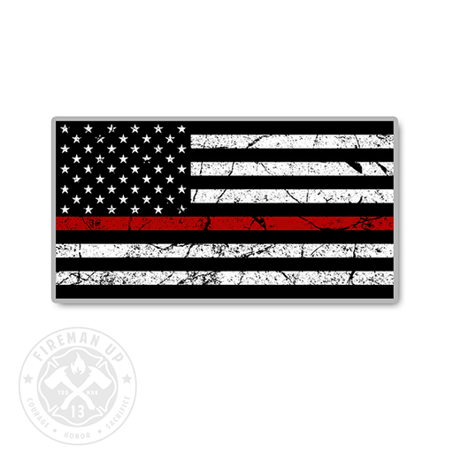 "Thin Red Line USA Flag Tattered - 4"" Sticker"