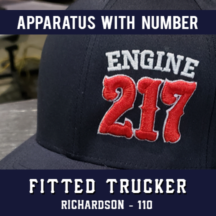 Apparatus with Number Custom Hat - Fitted Trucker