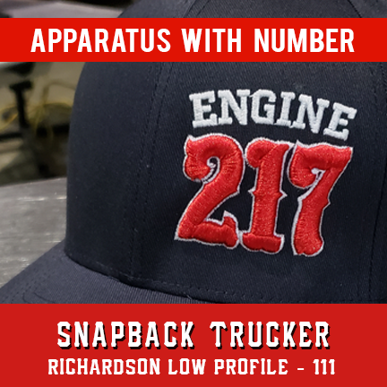 Apparatus with Number Custom Hat - Snapback Trucker Low Profile