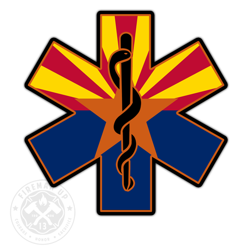 "Arizona Flag EMS Star of Life - 4"" Sticker"