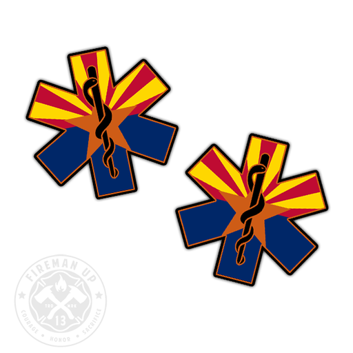 "Arizona Flag EMS Star of Life - 2"" Sticker Pack"
